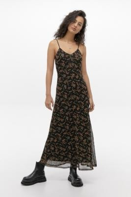 Urban Outfitters Floral Mesh Slip Maxi Dress - black XS at