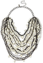 INC International Concepts Hematite-Tone Imitation Pearl and Chain Link Multi-Row Collar Necklace, Only at Macy's
