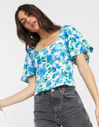 Fashion Union scoop neck top in floral print