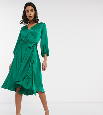 Ghost exclusive aggie satin midi wrap dress