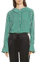 Robert Rodriguez Large Stripe Gathered Back Silk Shirt