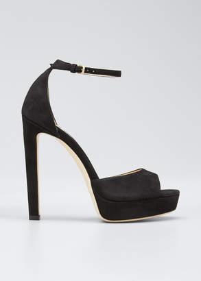 Jimmy Choo Pattie Suede Platform Sandals