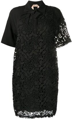No.21 Floral Lace Shirt Dress