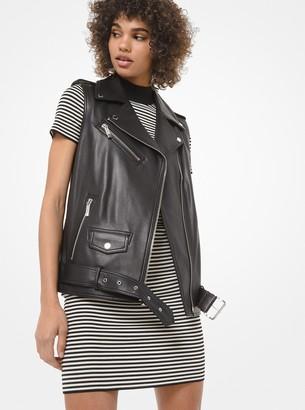MICHAEL Michael Kors Leather Moto Vest