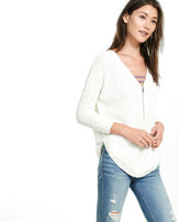 Express front zip extreme circle hem sweater tunic
