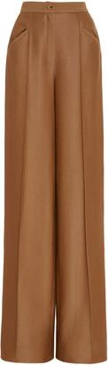 Brandon Maxwell Creased Wool-Silk Twill Wide-Leg Pants