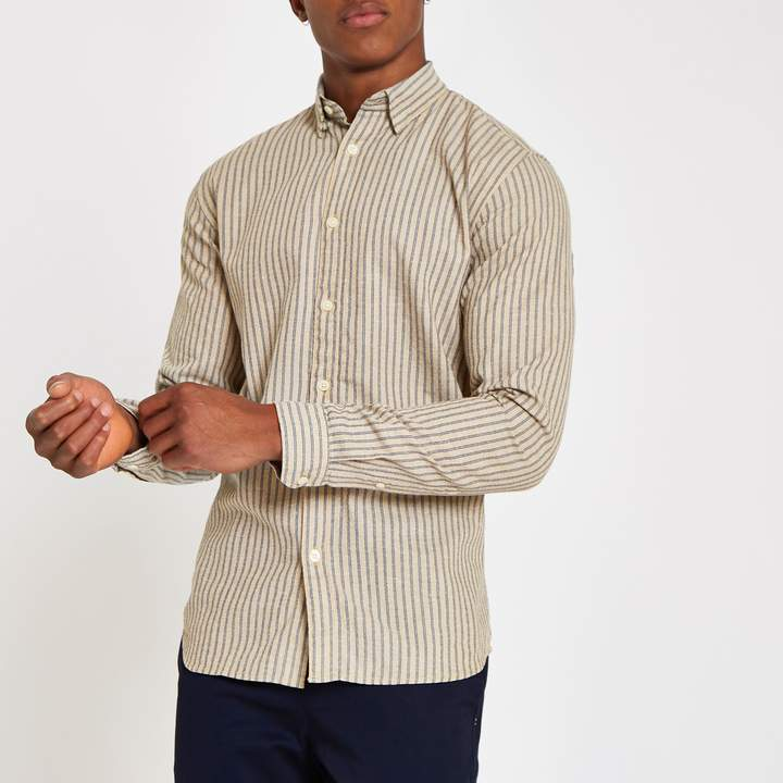 River Island Mens Selected Homme Beige striped shirt