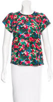 Band Of Outsiders Silk Floral Print Top