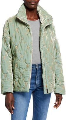 Johnny Was Lux Velvet Puffer Coat w/ Silk Print Lining