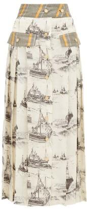 La Prestic Ouiston Shawna Toile-print Silk Midi Skirt - Womens - Ivory Multi