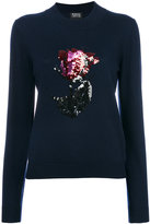 Markus Lupfer sequin embroidered rose Grace sweater