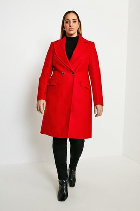 Karen Millen Curve Italian Wool Blend Double Breasted Coat