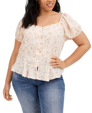 Planet Gold Trendy Plus Size Floral-Print Peplum Top