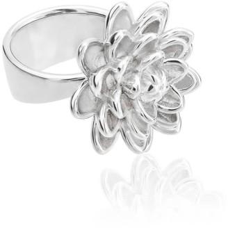 Tane Handmade Medium Flower Ring In Sterling Silver