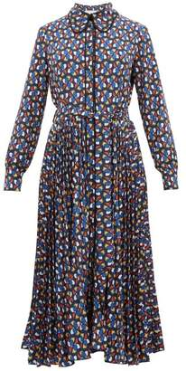 La DoubleJ Pinwheel Print Pleated Skirt Shirtdress - Womens - Blue Print