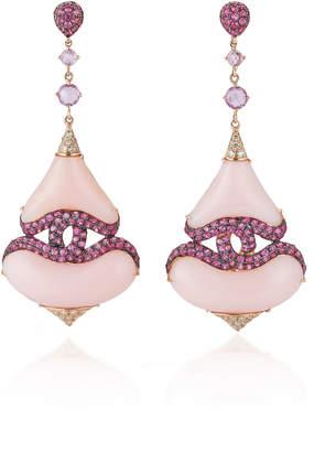 Wendy Yue 18K Rose Gold Pink Opal Drop Earrings