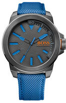 HUGO BOSS New York Gray IP Stainless Steel Blue Nylon Strap Watch, 1513008