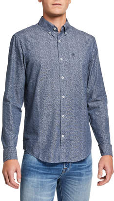 Original Penguin Penguin Men's Floral Print Chambray Long-Sleeve Sport Shirt