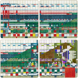 "CoasterStone Absorbent Coasters 4-1/4-Inch ""Frank Lloyd Wright Hillside Curtain"" Set of 4"
