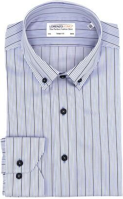 Lorenzo Uomo Textured Stripe Stretch Trim Fit Dress Shirt