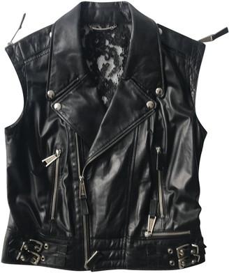 Philipp Plein Black Leather Coat for Women