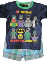 Lego Batman Little Boys Blue Minifigures Print Plaid 2 Pc Shorts Set