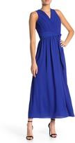 Donna Ricco Crepe Chiffon V-Neck Maxi Dress