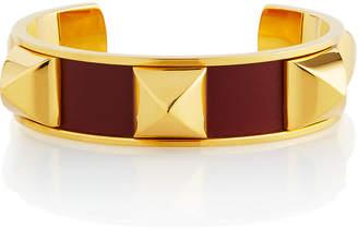 Hermes Estate Medor Studded Enamel Cuff, Burgundy/Gold