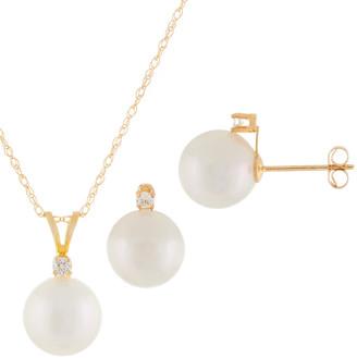 Splendid Pearls 14K 0.15 Ct. Tw. Diamond 7-7.5Mm Pearl Necklace & Earrings Set