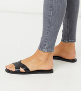Truffle Collection wide fit square toe flat slider in black