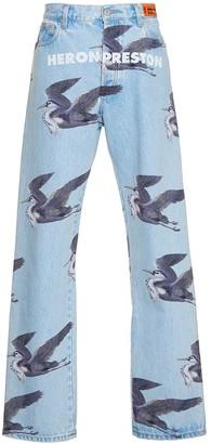 Heron Preston Light Blue Bird Print Denim Jeans