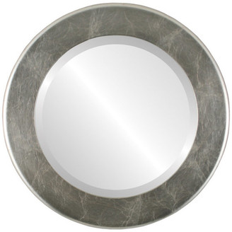 """The Oval And Round Mirror Store Avenue Framed Round Mirror in Silver Leaf with Brown Antique, 21""""x21"""""""