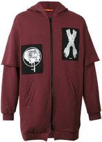 Komakino - patch zipped hoodie - men - Cotton - S