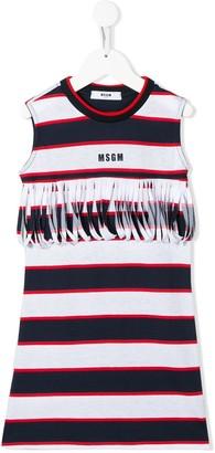 MSGM Kids stripe fringe-trimmed dress