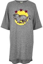 River Island Womens Grey marl leopard print oversized T-shirt