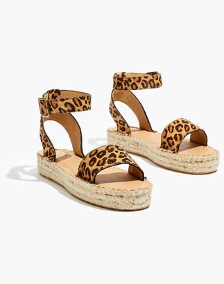 Madewell Soludos Flatform Cadiz Sandals in Leopard Calf Hair