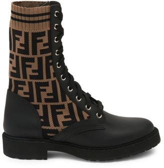 Fendi Rockoko Knit Leather Combat Boots