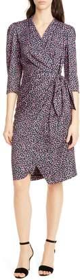 Rebecca Taylor Wild Rose Silk Blend Wrap Dress