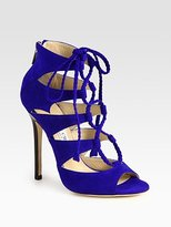 Gail Lace-Up Suede Sandals