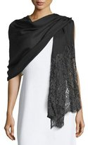 Valentino Golden Flower Lace-Trim Shawl, Black