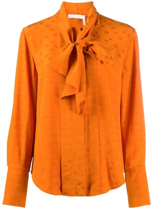 Chloé Tie-Neck Long-Sleeve Shirt