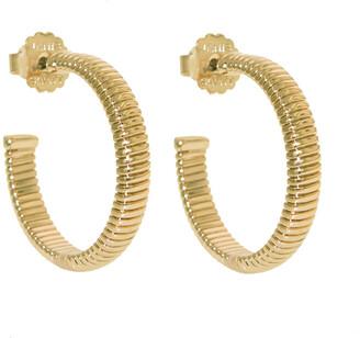 Janis Savitt High Polish Yellow Gold Cobra Hoop Earrings