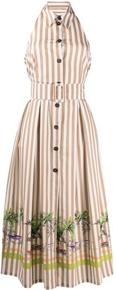 Erika Cavallini Striped Backless Shirtdress