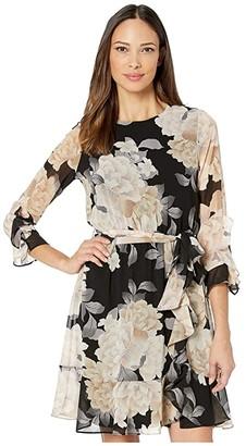 Calvin Klein Long Sleeve Dress with Ruffle and Belt (Black/Latte Multi) Women's Dress