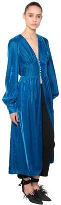 ATTICO Open Front Velvet Dress W/ Puff Sleeves