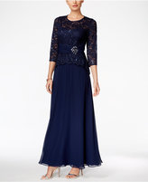 Alex Evenings Petite Lace-Bodice Gown