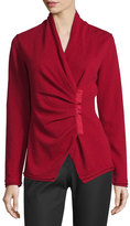 Lafayette 148 New York Gathered Asymmetric Surplice-Neck Cashmere Sweater, Ruby Red