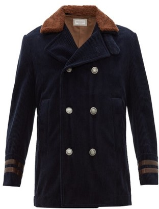 Brunello Cucinelli Double-breasted Shearling & Corduroy Peacoat - Navy