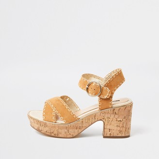 River Island Womens Brown cork platform sandal