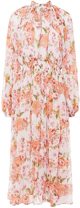 By Ti Mo Shirred Floral-print Crepon Midi Dress